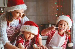 Mum doing Christmas baking with her children
